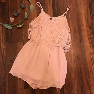 Nearly New Mossimo Pink Lacey Romper size medium